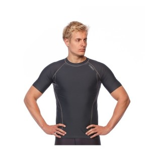 SIX30 Mens Short Sleeve Compression Top - Charcoal