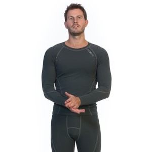 SIX30 Mens Long Sleeve Compression Top - Charcoal
